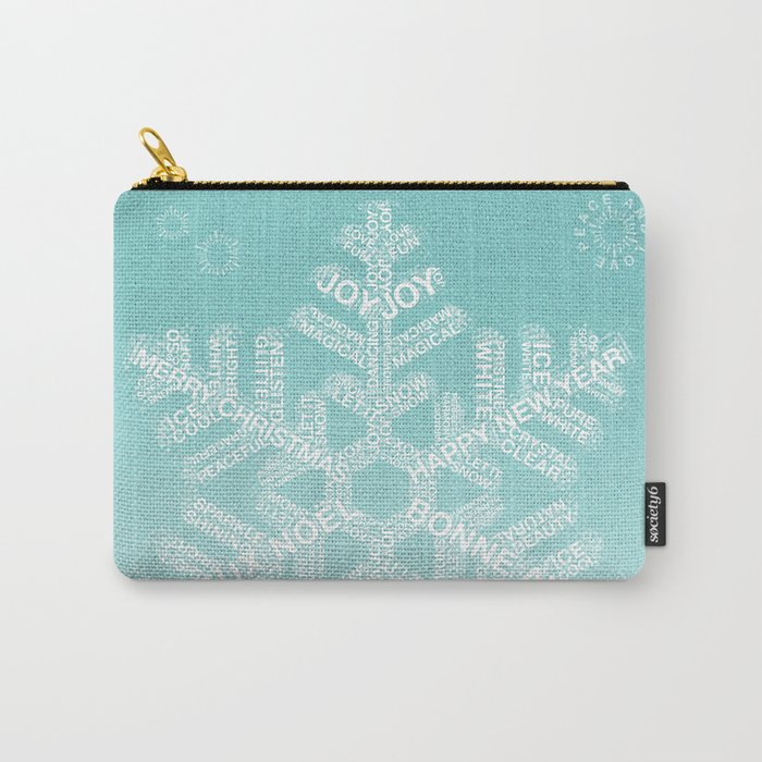 Typographic Snowfake Greetings - Ombre Teal Carry-All Pouch