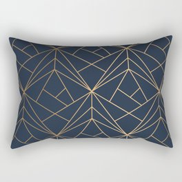 Elegant geometric copper navy blue Rectangular Pillow