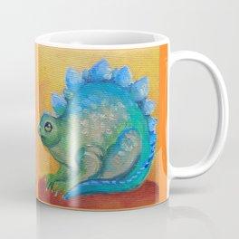 Brontosaurus Colorful Fancy Dinosaur illustration Dragon mirror composition on the orange background Coffee Mug