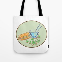 Bánh Mì Sandwich and Rice Bowl Drawing Tote Bag