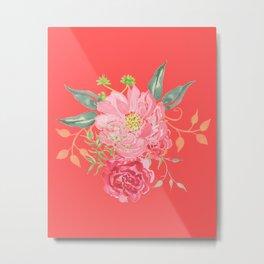 Pink Floral Watercolor Metal Print