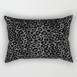 Gray and Black Exotic Leopard Animal Pattern Rectangular Pillow