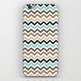 Aqua, Brown, and Black Chevron Stripes iPhone Skin
