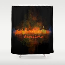 Barcelona City Skyline Hq _v4 Shower Curtain