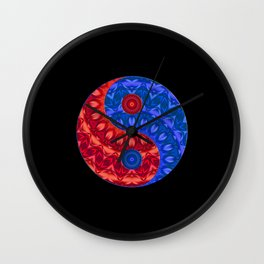 Red blue Yin a Yang Wall Clock