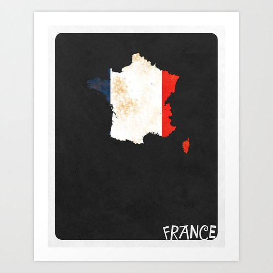 France Minimalist Vintage Map with Flag Art Print