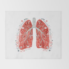 folky lungs Throw Blanket