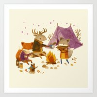 fall Art Prints featuring Critters: Fall Camping by Teagan White
