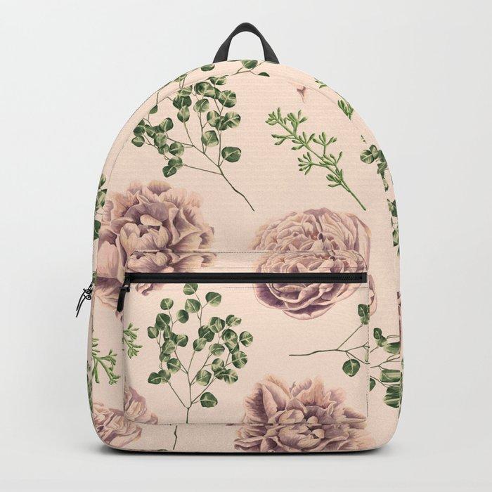 Rose Pattern Light Pink + Green Backpack