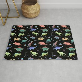 Rainbow Dinosaurs Black Background Theme Rug