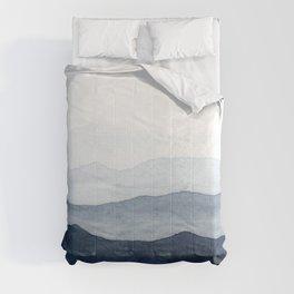Indigo Abstract Watercolor Mountains Comforters