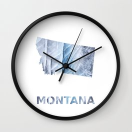 Montana map outline Light steel blue clouded wash drawing Wall Clock