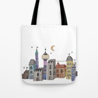 europe Tote Bags featuring Exploring Europe by Maxine Hughes