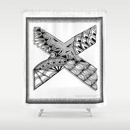 Zentangle X Monogram Alphabet Initial Shower Curtain