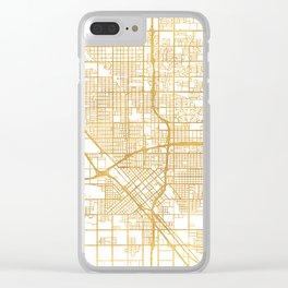 FRESNO CALIFORNIA CITY STREET MAP ART Clear iPhone Case