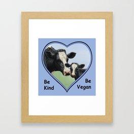 Holstein Cow and Calf Vegan Framed Art Print