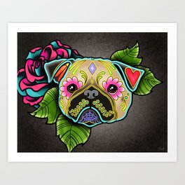 Pug in Fawn - Day of the Dead Sugar Skull Dog Art Print