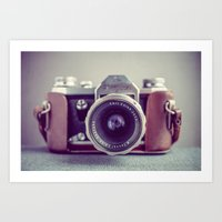 vintage camera Art Prints featuring Vintage Camera by Juste Pixx Photography