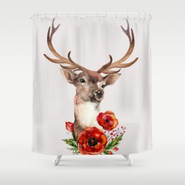 Deer with flowers 2 Shower Curtain