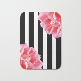 Pink roses on black and white stripes Bath Mat