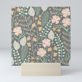 Hipster Ditsy Floral Pink Flowers Green Leaves Design Mini Art Print