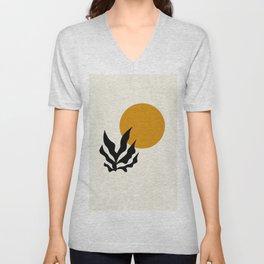 Tropical Sunshine Minimalist Graphic Design Unisex V-Neck