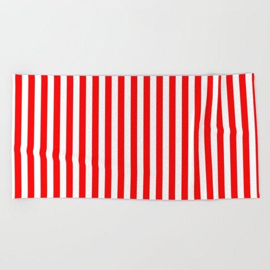 Vertical Stripes (Red/White) Beach Towel