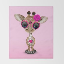Pink Day of the Dead Sugar Skull Baby Giraffe Throw Blanket