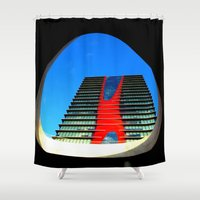 barcelona Shower Curtains featuring barcelona by Joan-Ma Espinosa