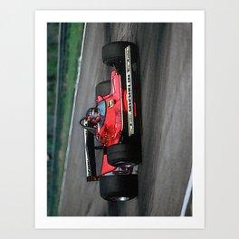 Sketch of F1 Champion Gilles Villeneuve - year 1979 car 312 T4 - Vertical Art Print