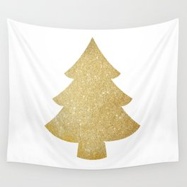 Gold Glitter Christmas Tree Wall Tapestry