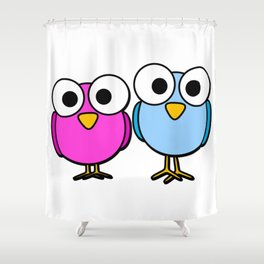 Pink and blue googly eyed birds cartoon Shower Curtain