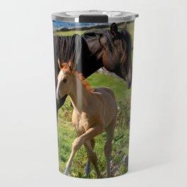Horses In Landscape Travel Mug