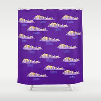 lakers Shower Curtains featuring LAKERS HAND-DRAWING DESIGN by SUNNY Design