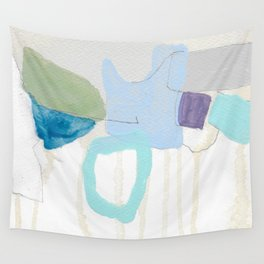 stone by stone 2 - abstract art fresh color turquoise, mint, purple, white, gray Wall Tapestry