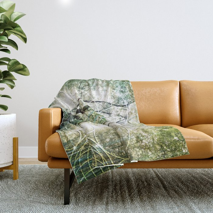 Bamboo Forest Geometry Throw Blanket