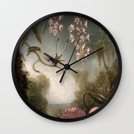 Orchids And Spray Orchids With Hummingbird 1890 By Martin Johnson Heade | Reproduction Wall Clock
