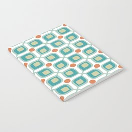Abstract Flower Pattern Mid Century Modern Retro Turquoise Orange Notebook