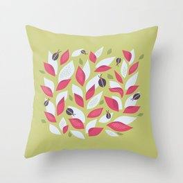 Pretty Plant With White Pink Leaves And Ladybugs Throw Pillow