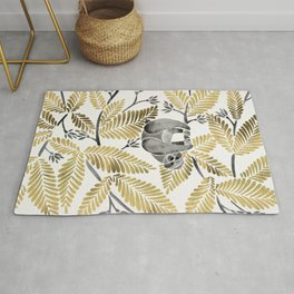 Happy Sloth – Tropical Gold Leaves Rug