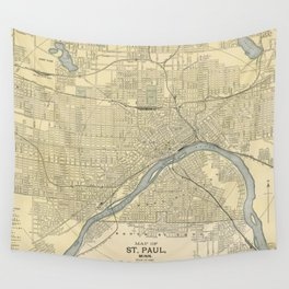 Vintage Map of St. Paul Minnesota (1891) Wall Tapestry