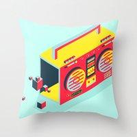 radio Throw Pillows featuring Radio Jam by Amy Wang
