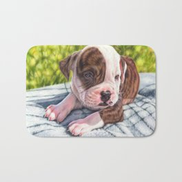 American bulldog puppy colored pencil drawing Bath Mat