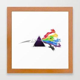 Rainbow Rabbits Prism Framed Art Print