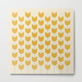 Yellow Tulip Pattern Metal Print