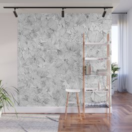 Hand painted black white watercolor tribal floral Wall Mural