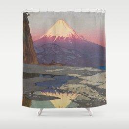 Fujiyama from Okitsu Views of Mount Fuji Vintage Beautiful Japanese Woodblock Print Hiroshi Yoshida Shower Curtain