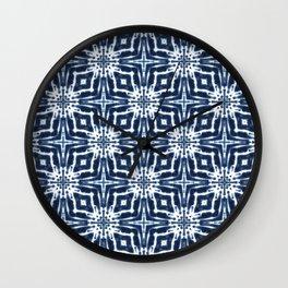 Watercolor Shibori Indigo Wall Clock