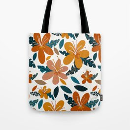 Tropical Holiday Florals – Ochre & Teal Tote Bag