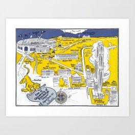 PITTSBURGH University map PENNSYLVANIA  dorm decor Art Print